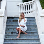 Marissa Meade on the steps of the simply beautiful Powerscourt Hotel